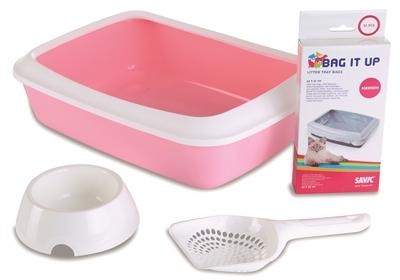 Savic kitten kattenbak isis startset roze / wit